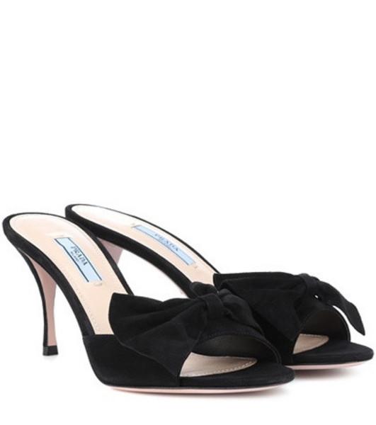Prada Suede bow mules in black