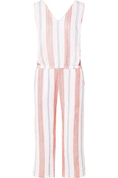 LemLem - Zenha Cropped Striped Cotton-blend Gauze Jumpsuit - White