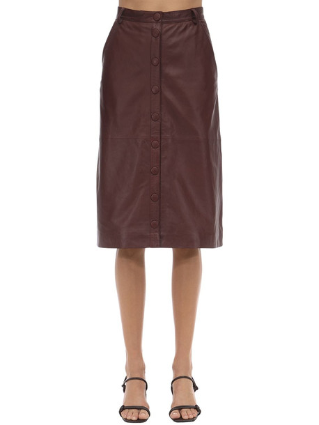 REMAIN Bellis Leather Midi Skirt