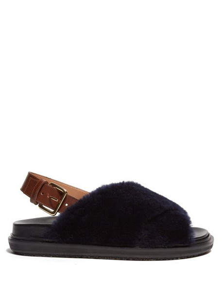 Marni - Fussbett Shearling And Leather Slingback Sandals - Womens - Navy