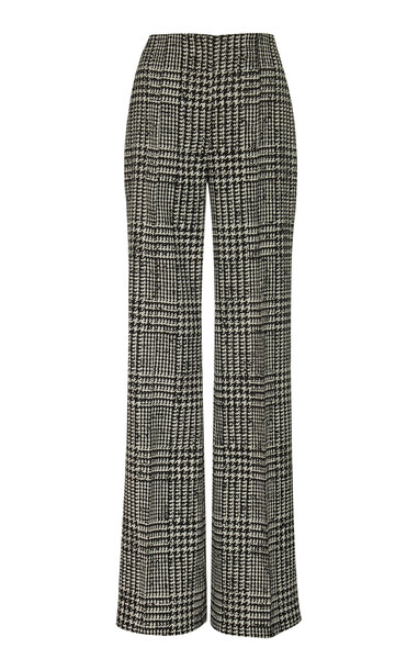 Carolina Herrera High-Waisted Checked Silk And Wool Wide-Leg Pants