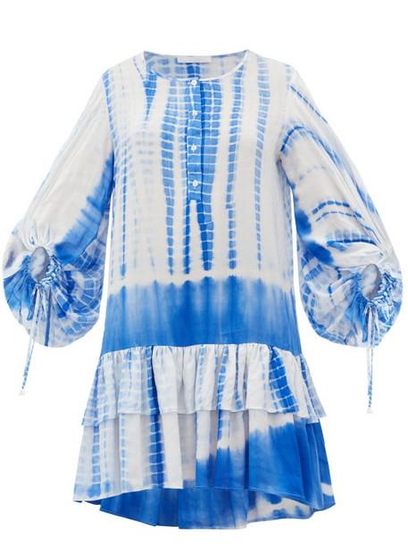 Love Binetti - Only Yesterday Tie-dye Cotton Mini Dress - Womens - Blue Print
