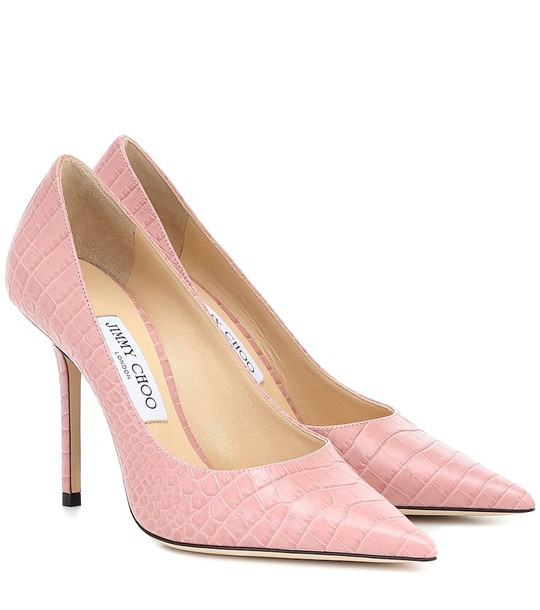 Jimmy Choo Love 100 croc-effect leather pumps in pink