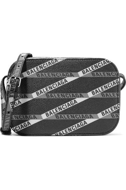 Balenciaga - Everyday Xs Aj Printed Textured-leather Camera Bag - Black