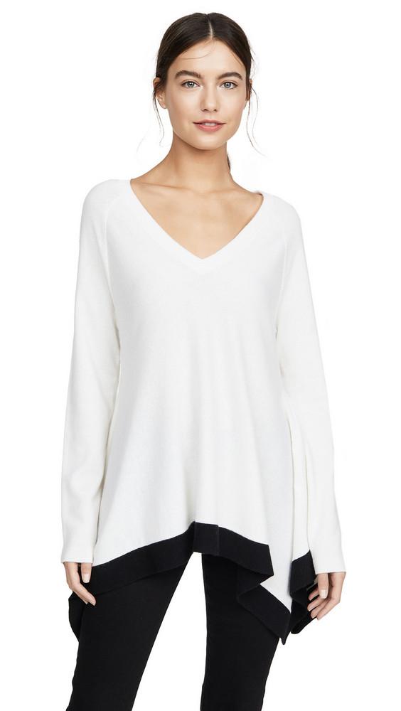 TSE Cashmere Draped V Neck Cashmere Sweater in black