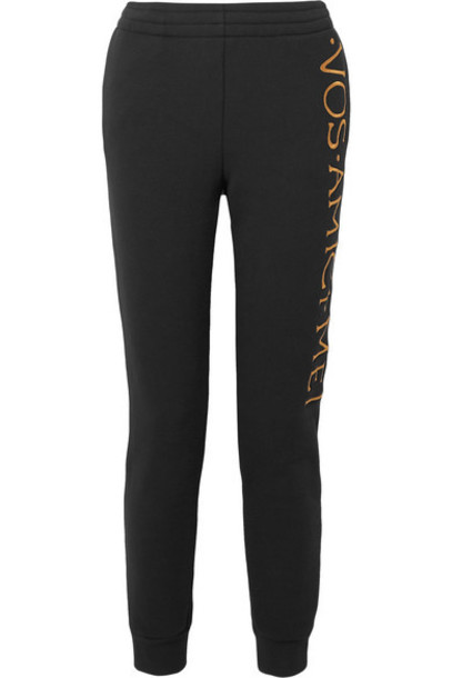 Moschino - Embroidered Stretch-terry Track Pants - Black