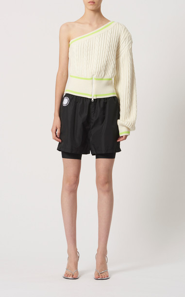 David Koma Asymmetric Cable-Knit Sweater in white