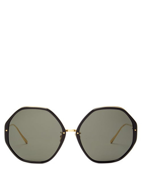 Linda Farrow - Alona Oversized Heptagonal Acetate Sunglasses - Womens - Black Gold