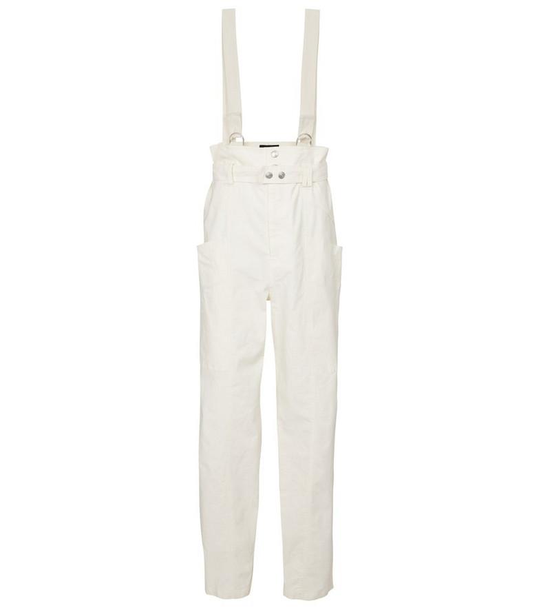 Isabel Marant Ekla linen and cotton suspender pants in white
