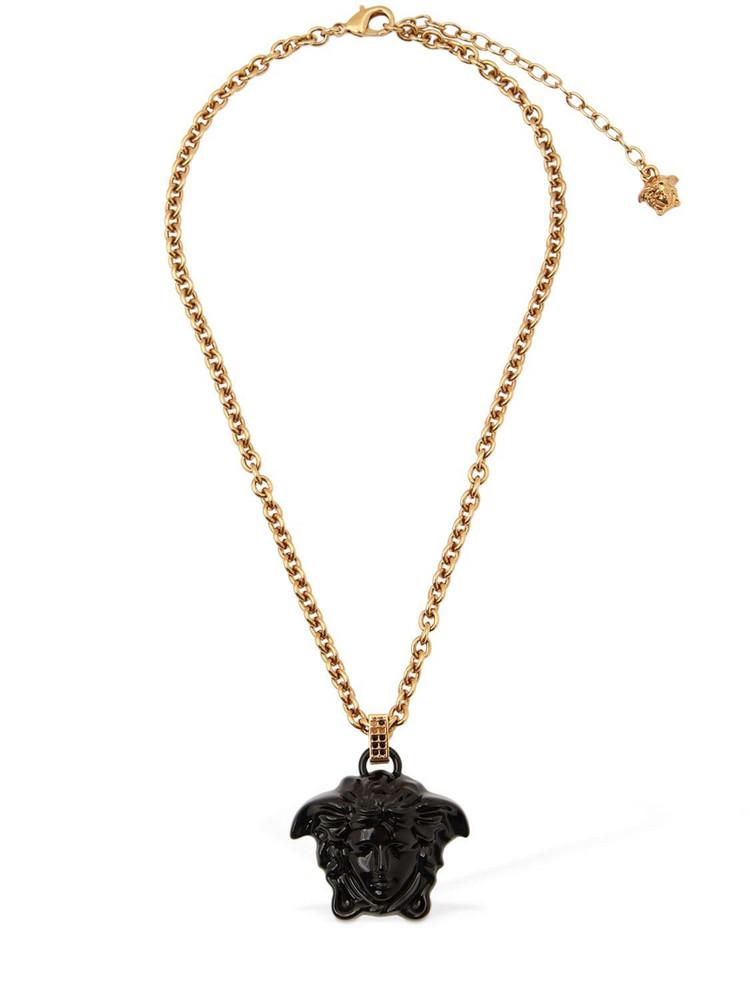 VERSACE Varnished Medusa Charm Necklace in black / gold