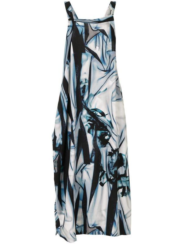 Y's printed asymmetric midi dress in blue