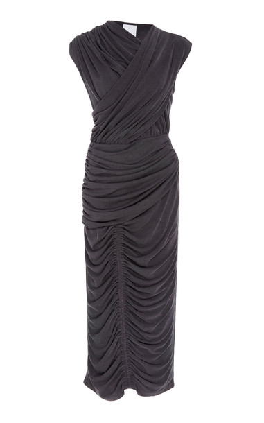 Acler Palmer Ruched Midi Dress Size: 4 in black