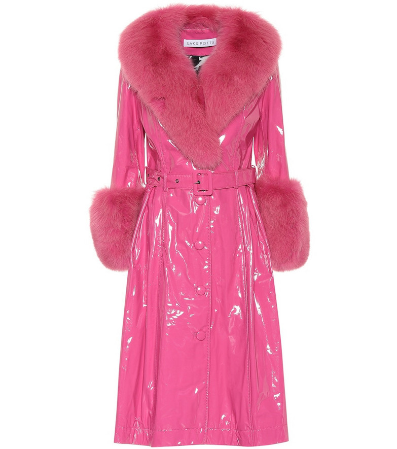 Saks Potts Foxy fur-trimmed patent leather coat in pink