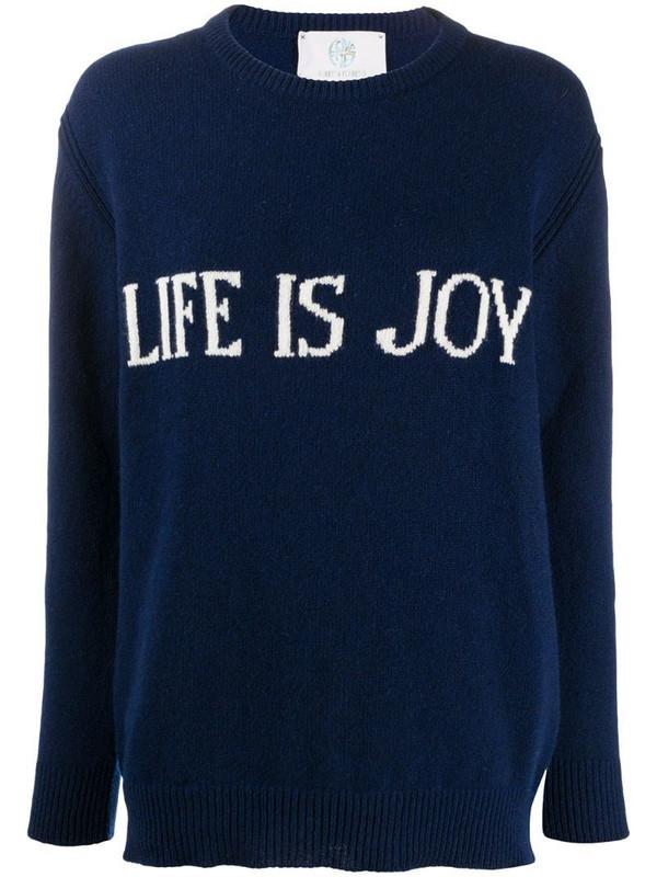 Alberta Ferretti slogan detail jumper in blue