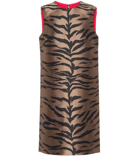 Carolina Herrera Jacquard shift dress in brown