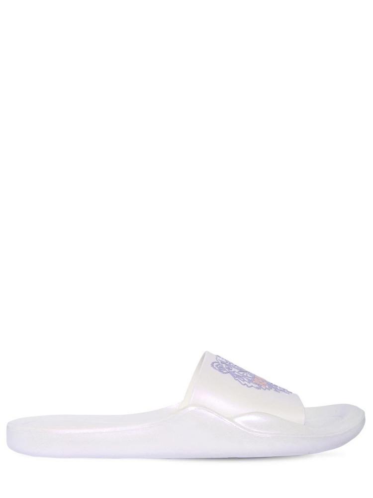 KENZO 10mm Pool Iridescent Rubber Slide Sandal in white