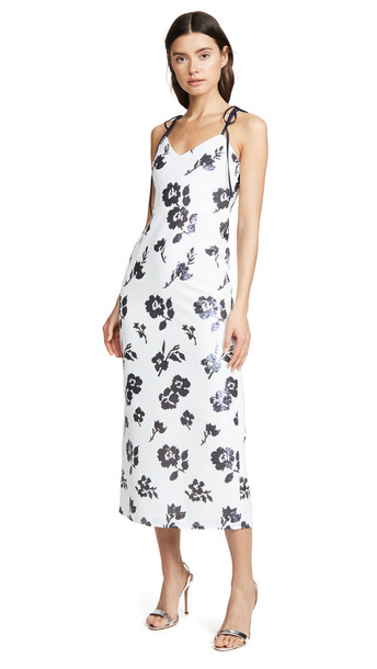 Self Portrait Sleeveless Floral Sequin Midi Dress in navy / ivory