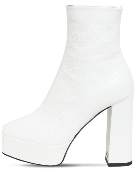 GIUSEPPE ZANOTTI 120mm Patent Leather Ankle Boots in white