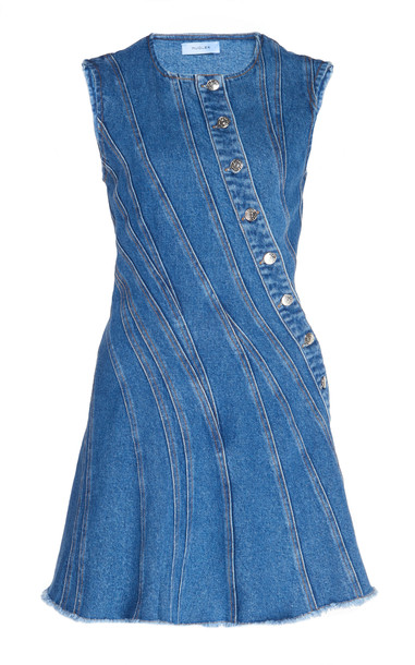 MUGLER Spiral Denim Dress in blue