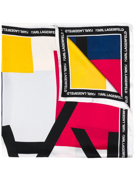 Karl Lagerfeld silk logo print scarf in blue