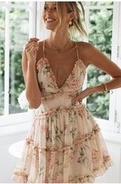 dress,flowers,pink,creme,pretty,cute,ruffle,ruffle dress