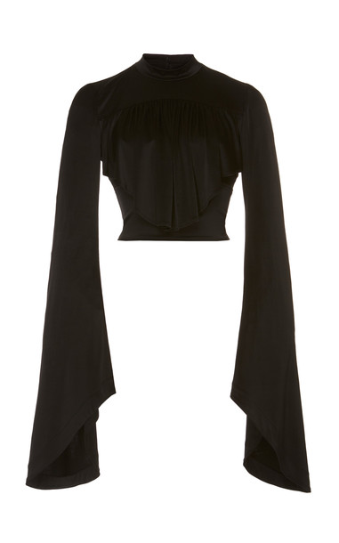 Paco Rabanne Bell Sleeved Satin Top in black