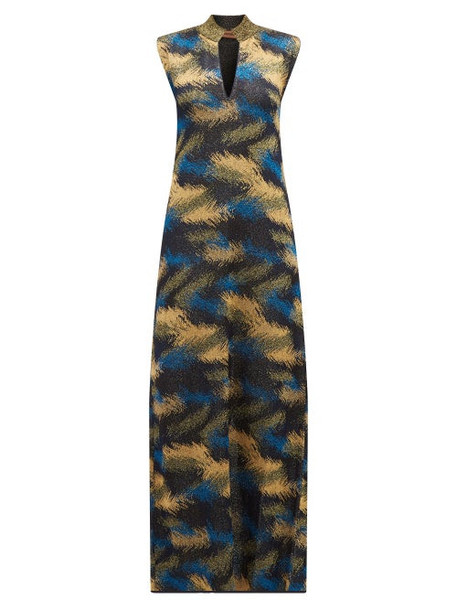 Missoni - High Neck Metallic Jacquard Knit Dress - Womens - Navy Gold