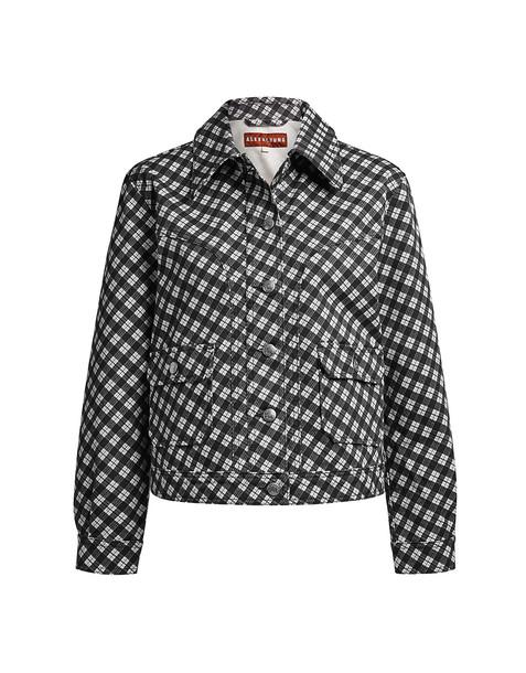 Alexa Chung Plaid Cropped Denim Jacket Black White
