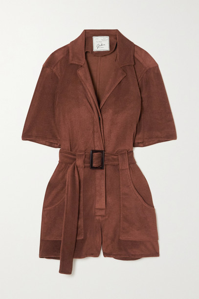 GIULIVA HERITAGE - The Sienna Belted Cotton-twill Playsuit - Brown