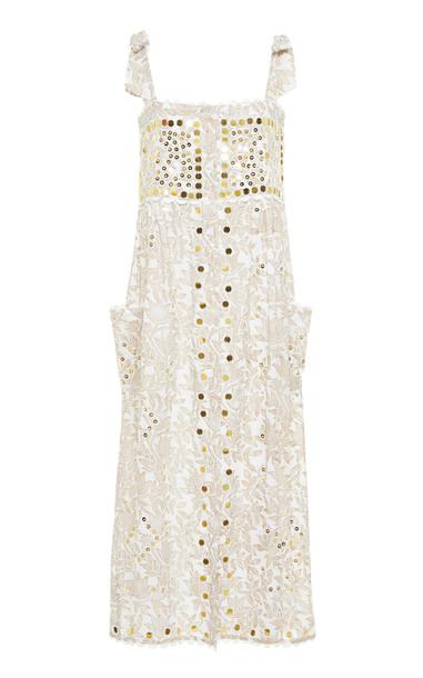 Juliet Dunn Tie Shoulder Block Print Cotton Dress in white