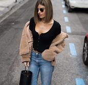ms treinta,blogger,jacket,cardigan,jeans,shoes,bag