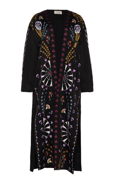 Temperley London Effie Embroidered Kimono Coat in black
