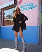 dress,mini dress,slit dress,long sleeve dress,knee high boots,black blazer,shoes,black dress,rocky barnes,blogger,blogger style,silver boots
