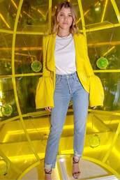 jeans,purse,denim,sofia richie,celebrity,spring outfits,blazer,yellow,sandals