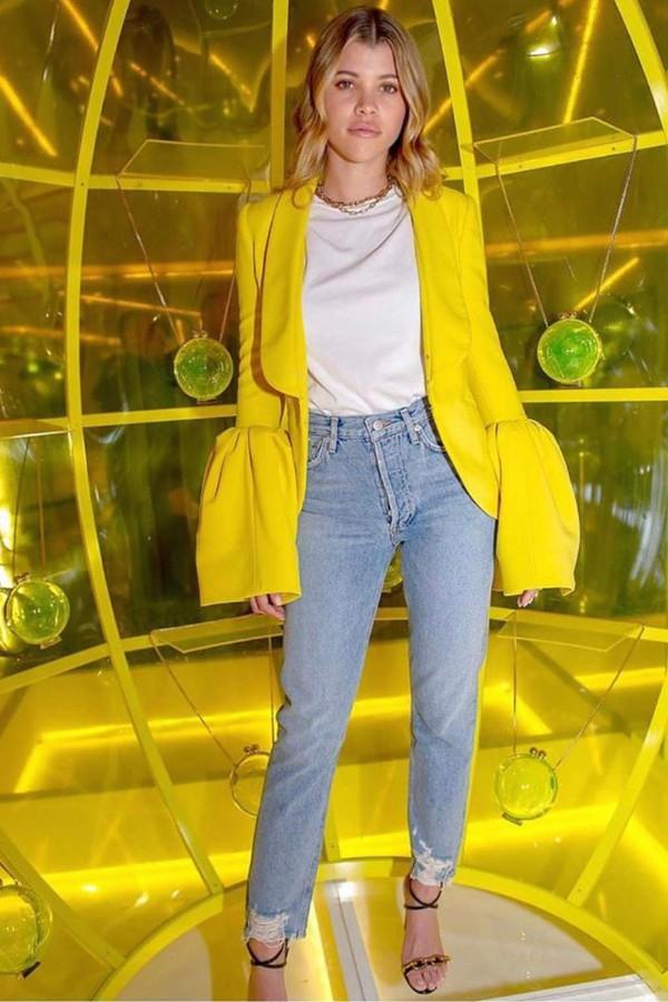 jeans purse denim sofia richie celebrity spring outfits blazer yellow sandals