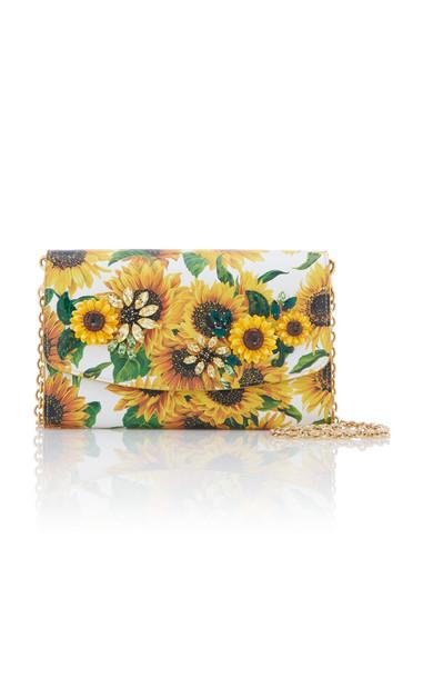 Dolce & Gabbana Embellished Floral-Print Textured-Leather Shoulder Bag in multi