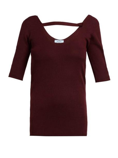 Prada - Round Neck Cashmere Blend Sweater - Womens - Dark Red