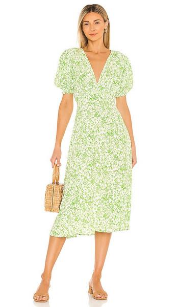 FAITHFULL THE BRAND Marie Louise Midi Dress in Green in print