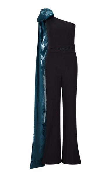 Safiyaa Darlene Metallic Bow Ctepe Jumpsuit in black