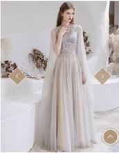 dress,pearl,grey,prom dress,shawl,evening dress,long dress,a line dress,tulle dress,polyester,floor length dress