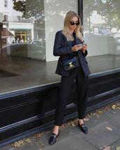 shoes,loafers,black pants,blazer,black bag,black top