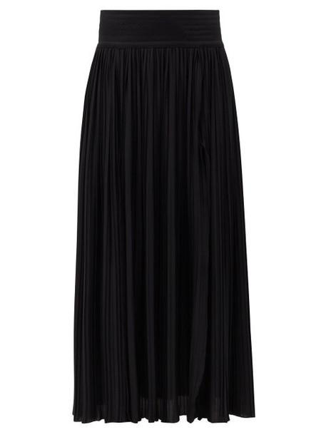 Balmain - Pleated Jersey Maxi Skirt - Womens - Black