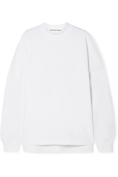 alexanderwang.t - Oversized Printed French Cotton-terry Sweatshirt - White