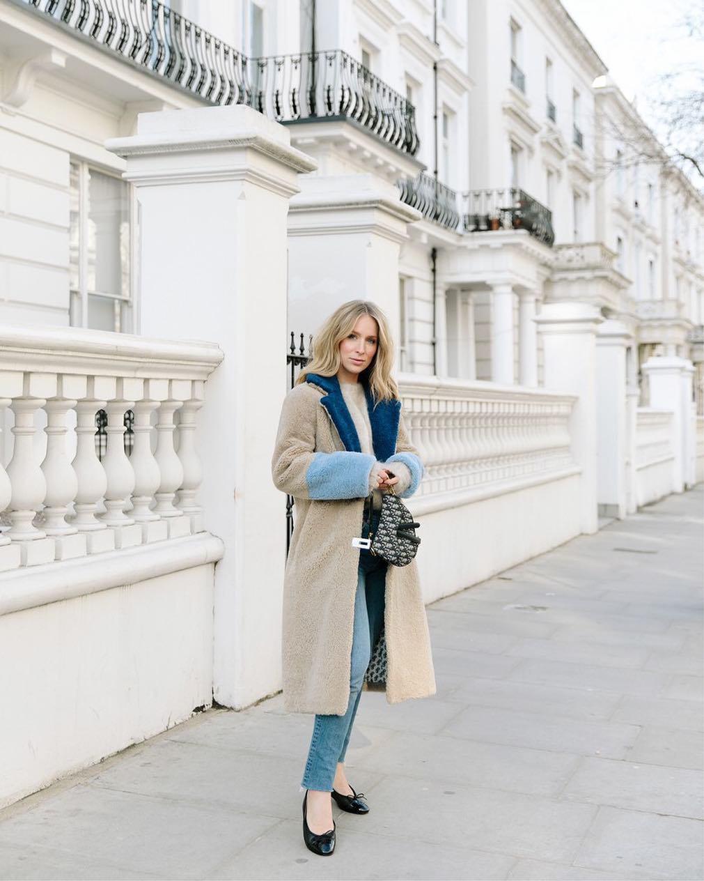 coat faux fur coat long coat ballet flats skinny jeans dior bag sweater