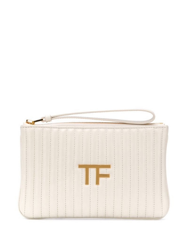 Tom Ford TF quilted pouch in white