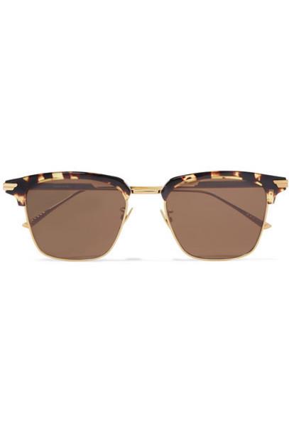 Bottega Veneta - Square-frame Gold-tone And Tortoiseshell Acetate Sunglasses