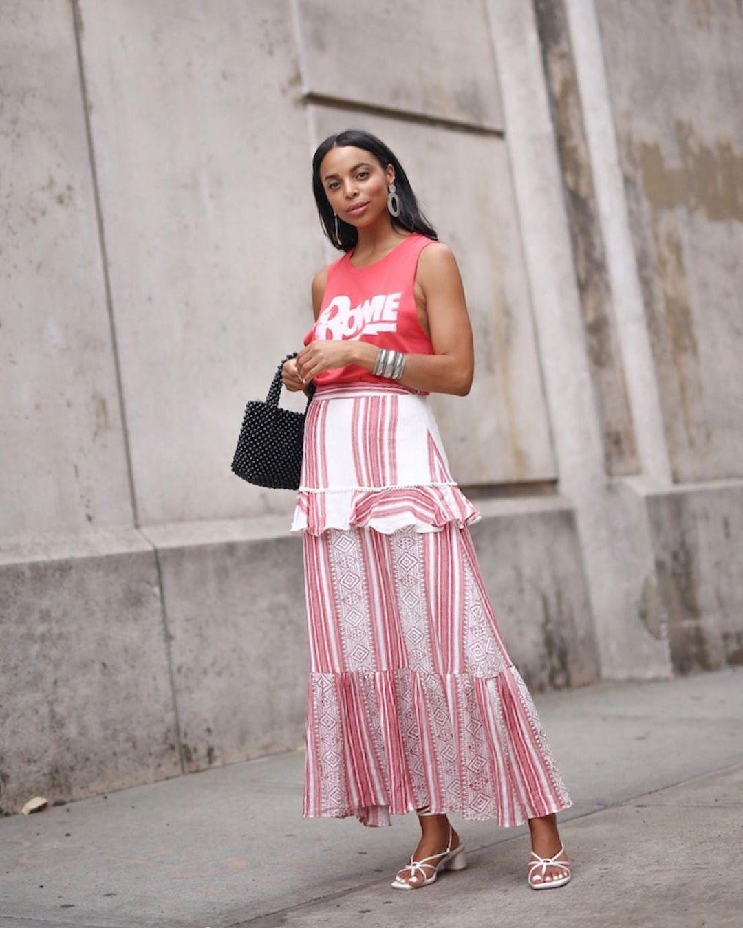 skirt maxi skirt striped skirt white sandals black bag tank top sleeveless top