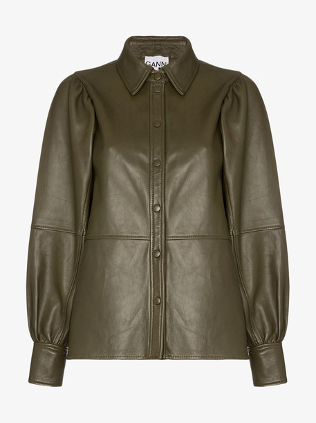 Ganni Leather shirt jacket in brown