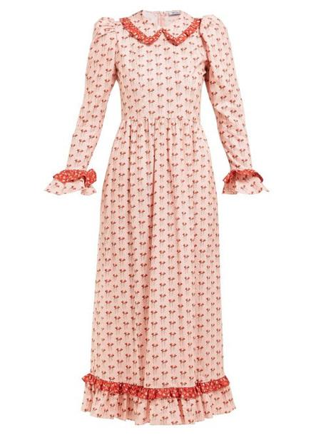 Batsheva - Ruffled Floral Print Cotton Midi Dress - Womens - Pink Multi