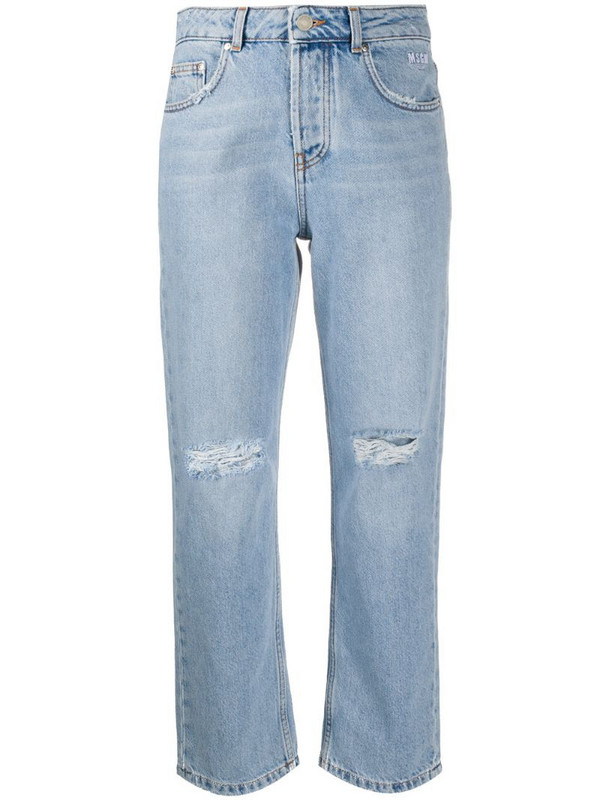 MSGM high-rise straight jeans in blue